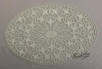 Murrhardter Spitzen-Deckchen oval Vintage 5 Stück NEU!